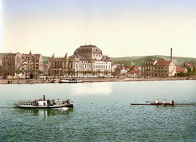 Royalty-Free and Rights-Managed Images - Stadttheater Zurich, Opera House, and Utoquai, Zurich, Switzerland 1891. by Joe Vella