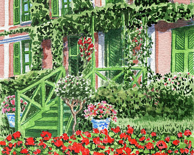 Royalty-Free and Rights-Managed Images - Stairs To The Garden Cozy House With Wall Vines by Irina Sztukowski