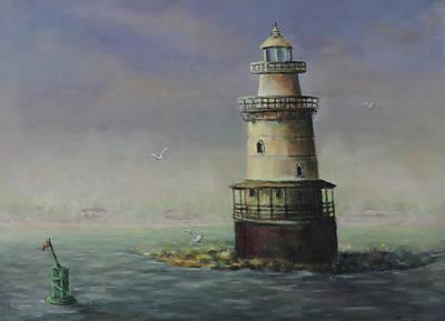 Painting - Stamford Harbor Ledge Lighthouse by Katalin Luczay