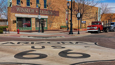 Design Turnpike Vintage Maps - Standing on a Corner in Winslow Arizona by Stephen Stookey