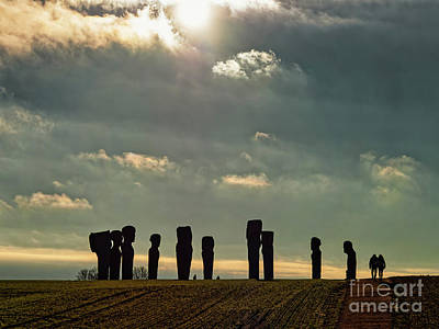 Ethereal - Standing stones circle Dodekatitten on island Lolland in rural D by Frank Bach