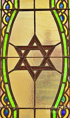 Photo Royalty Free Images - Star of David in Stained Glass Royalty-Free Image by Linda Covino