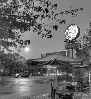 On Trend At The Pool - Starbucks on a Rainy Fall Day  by Michael Dean Shelton