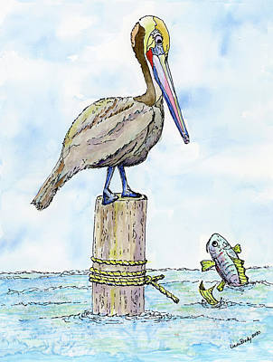 Classic Golf - Stare Down  The Pelican and the Fish by Linda Brody