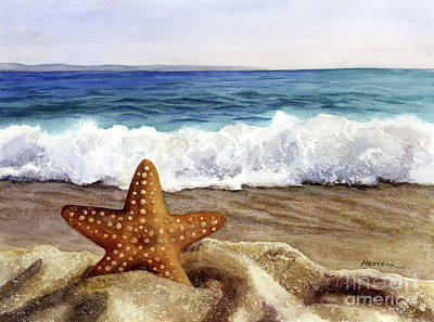 Royalty-Free and Rights-Managed Images - Starfish and Sea Wave by Hailey E Herrera