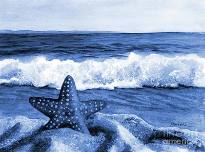 Royalty-Free and Rights-Managed Images - Starfish and Sea Wave in Blue by Hailey E Herrera