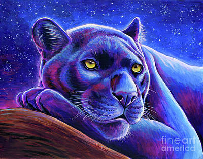 Painting - Stargazing - Colorful Black Leopard by Rebecca Wang