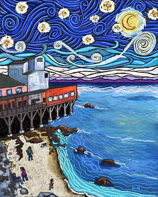 Outdoor Graphic Tees - Starry Night Over Monterey Bay by David Hinds