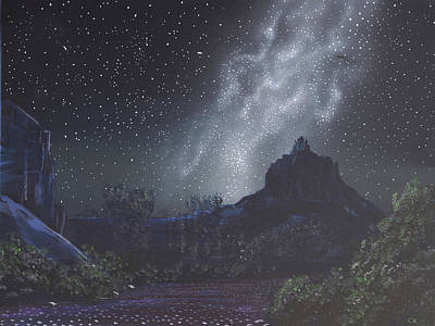 Painting Rights Managed Images - Starry Night Sky over Sedona, Arizona Royalty-Free Image by Chance Kafka