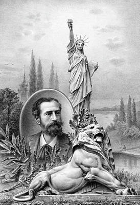 Animals Drawings - Statue of Liberty - Bartholdi Portrait and Lion Sculpture  by War Is Hell Store