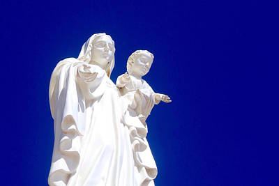 Beer Blueprints - Statue of Mary holding Jesus, Punta Secca, Sicily, Italy. by Joe Vella