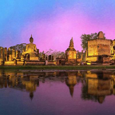 Painting Royalty Free Images - Statue, Phra Nakhon Si Ayutthaya, Thailand Royalty-Free Image by Safran Fine Art