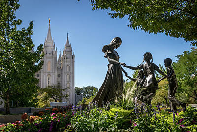Photograph - Statues at Salt Lake Temple by Dallas Golden