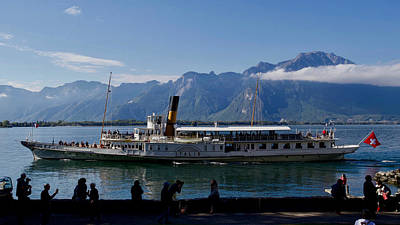 Keith Richards Royalty Free Images - Steamer Italie, Lake Geneva, Veytaux, Canton Vaud, Switzerland. Royalty-Free Image by Joe Vella