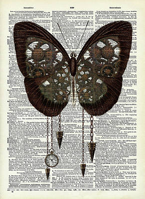 Steampunk Royalty-Free and Rights-Managed Images - Steampunk butterfly dictionary art by Mihaela Pater