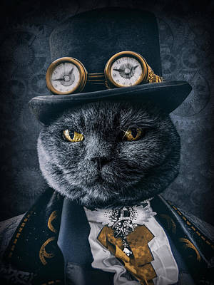 Steampunk Royalty-Free and Rights-Managed Images - Steampunk cat portrait by Mihaela Pater