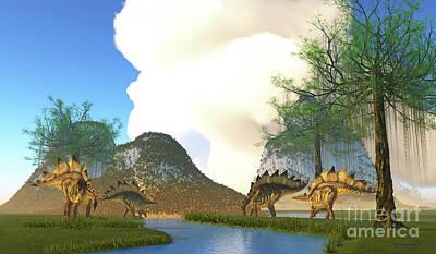 Vintage Automobiles - Stegosaurus Dinosaur River by Corey Ford