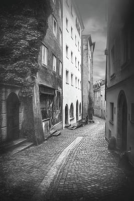 Studio Grafika Science - Steingasse Street Salzburg Austria Black and White  by Carol Japp