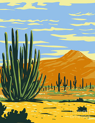 Sara Habecker Folk Print - Stenocereus Thurberi Growing in Organ Pipe Cactus National Monument Located in Arizona United States and the Mexican State of Sonora WPA Poster Art by Aloysius Patrimonio