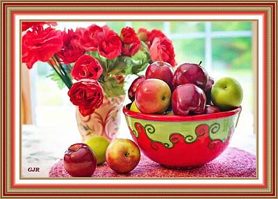 Vintage Automobiles - Still Life - Bowl With Apples And Red Roses Bouquet  L A S - With Printed Frame. by Gert J Rheeders