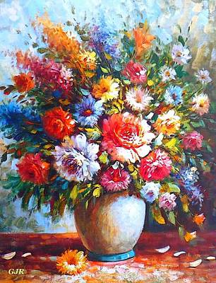 Beers On Tap - Still Life Colorful Flower Arrangement  After An Anonymous Artist. L A S by Gert J Rheeders