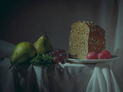 Photograph - Still Life Photography with Bread and Fruit by Sean Patrick Durham