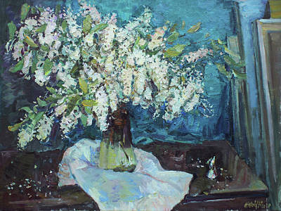 Uncle Sam Posters - Still life with bird cherry in the studio by Juliya Zhukova