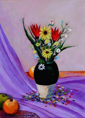 Still Life Royalty-Free and Rights-Managed Images - Still life with flowers and fruits by Konstantinos Charalampopoulos