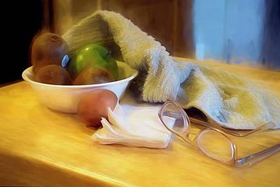 Mixed Media Royalty Free Images - Still Life with Kiwi Egg Glasses andTowel Royalty-Free Image by Lynda Lehmann
