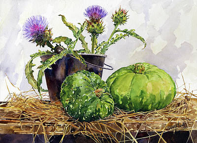 Abstract Trees Mandy Budan - Still Life with Squashes and Thistles by Margaret Merry