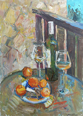 Painting Royalty Free Images - Still life with tangerines Royalty-Free Image by Juliya Zhukova