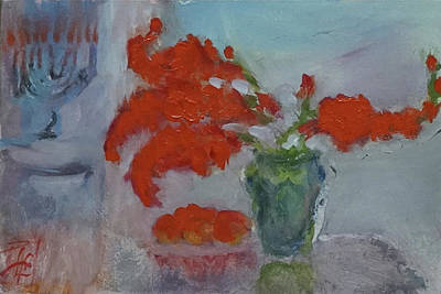 Painting - Still Lifewith Glads, Menorah and Tomatoes by Linda Falorio