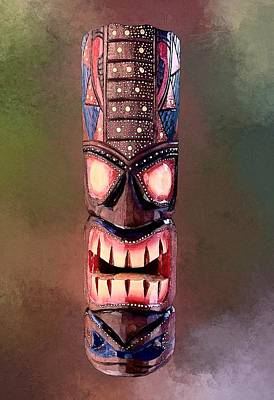 The Playroom Royalty Free Images - Stipple Tiki Mask Royalty-Free Image by Anthony Jones