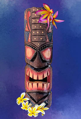 The Playroom Royalty Free Images - Stipple Tiki Mask - Blue Royalty-Free Image by Anthony Jones