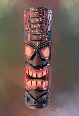 The Playroom Royalty Free Images - Stipple Tiki Mask - Green Royalty-Free Image by Anthony Jones
