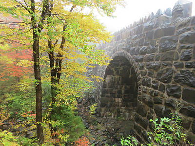 Rights Managed Images - Stone Arch Bridge in Fall Royalty-Free Image by Alison Gimpel
