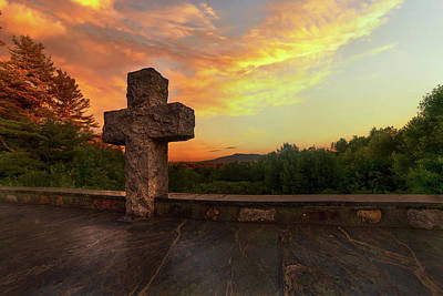 World War 2 Action Photography - Stone Cross at The Cathedral of the Pines by Joann Vitali