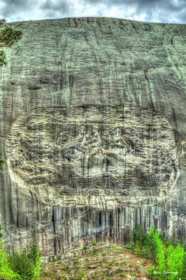 Up Up And Away - Stone Mountain Park The Carvings Stonewall Jackson Robert E Lee Jefferson Davis History Art by Reid Callaway