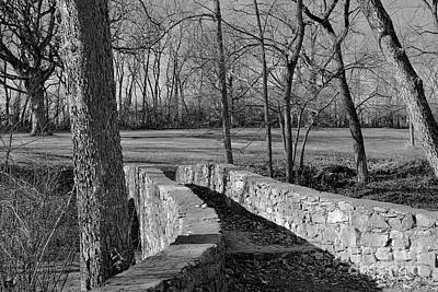 Ethereal - Stone Walking Bridge in BW by Linda Brittain