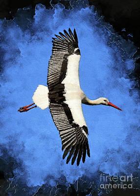 Digital Art - Stork bird art #stork by Justyna Jaszke JBJart