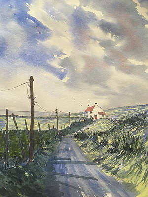 Painting - Storm on the road to Halton Gill by Glenn Marshall