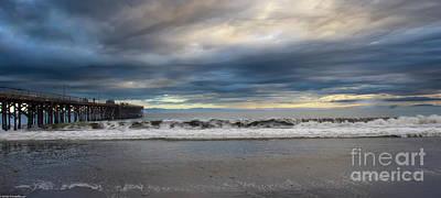 Airplane Paintings - Stormy Goleta Pier  by Mitch Shindelbower