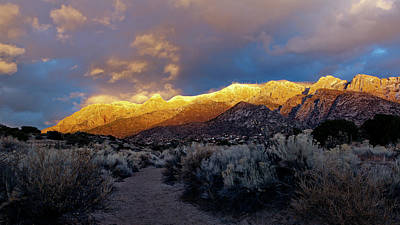 Photograph - Stormy Light on the Sandia Mountains by Howard Holley
