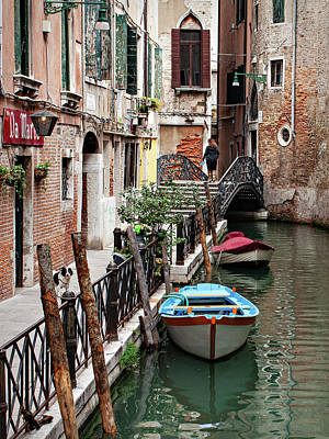 Whats Your Sign - Street and Canal - Venice by Barry O Carroll