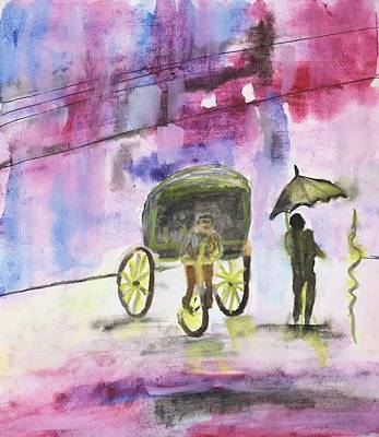 Painting Royalty Free Images - Streets of Jamshedpur Royalty-Free Image by Nilu Mishra