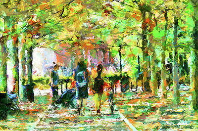 Marvelous Marble - Strolling through the Park  by Geraldine Scull