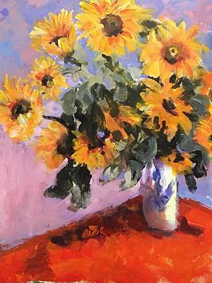 Susan Elizabeth Jones Royalty-Free and Rights-Managed Images - Study of Monets Sunflowers by Susan Elizabeth Jones