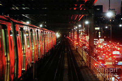 Photograph - Subway Train and Car Traffic on Williamsburg Bridge New York City by Nidhin Nishanth