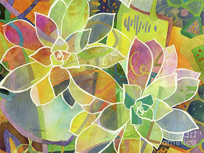 Abstract Oil Paintings Color Pattern And Texture - Succulent Mirage 1-Horizontal by Hailey E Herrera