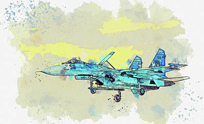 Rowing - SUKHOI SU-P FLANKER in watercolor ca by Ahmet Asar by Celestial Images